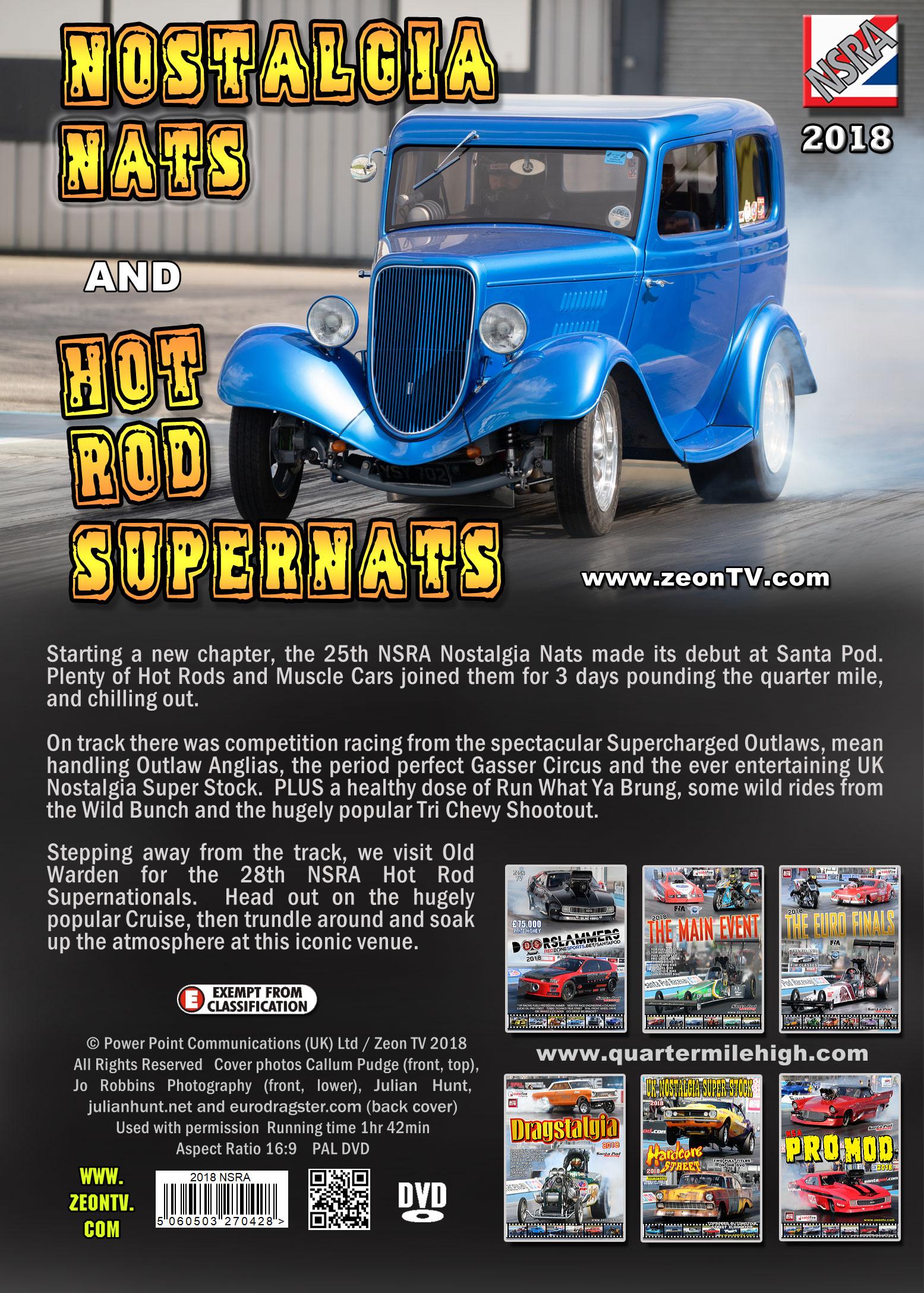 2018 NSRA Nostalgia Nationals and Hot Rod Super Nationals DVD drag